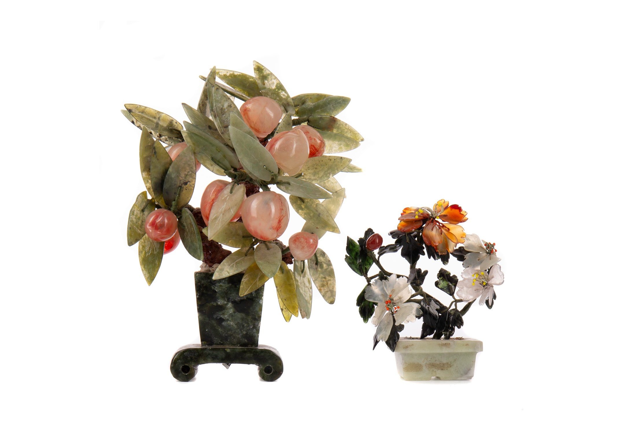 A LOT OF TWO CHINESE HARDSTONE MINIATURE TREES/PLANTS