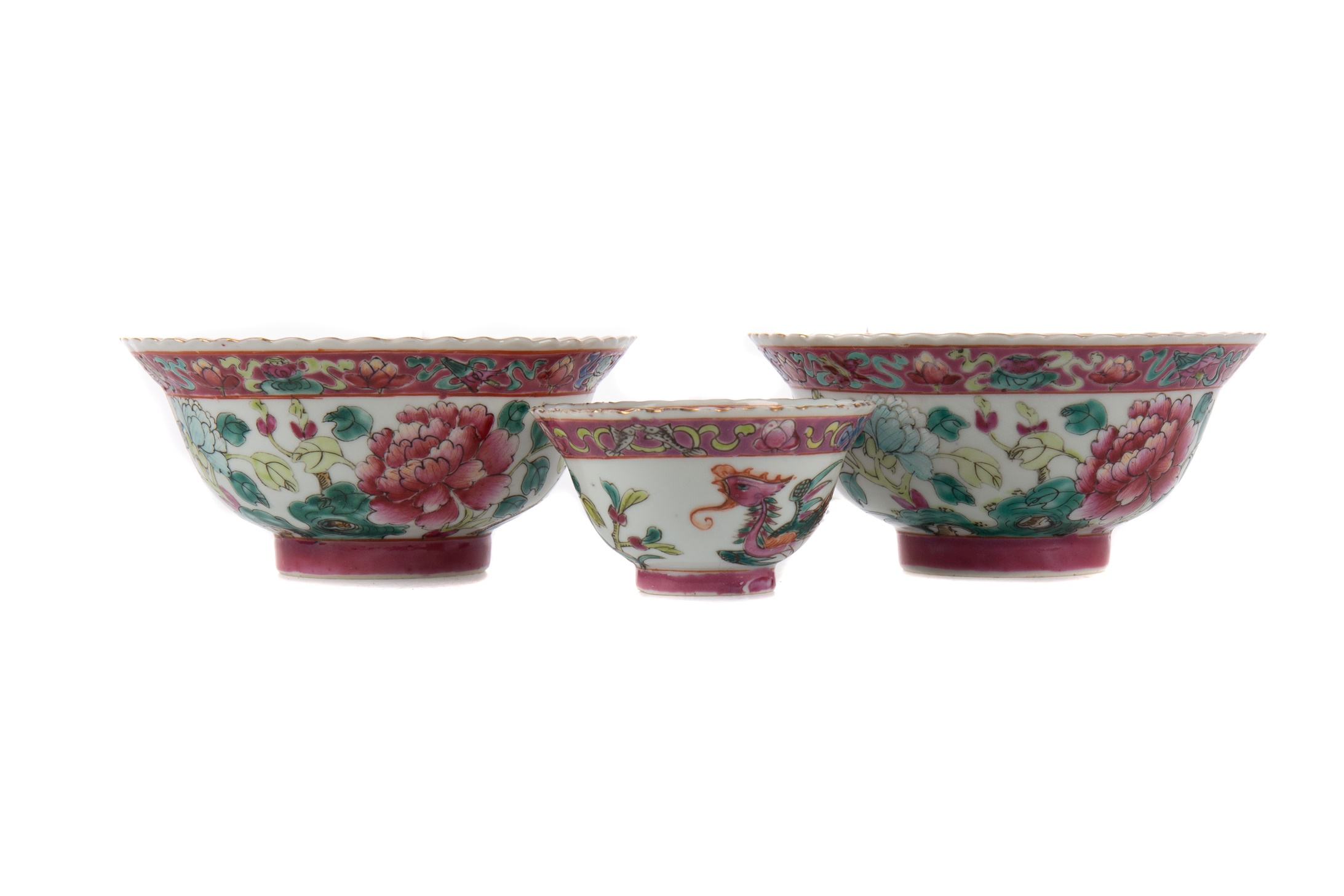 A PAIR OF 20TH CENTURY CHINESE CIRCULAR BOWLS AND ANOTHER SMALLER BOWL