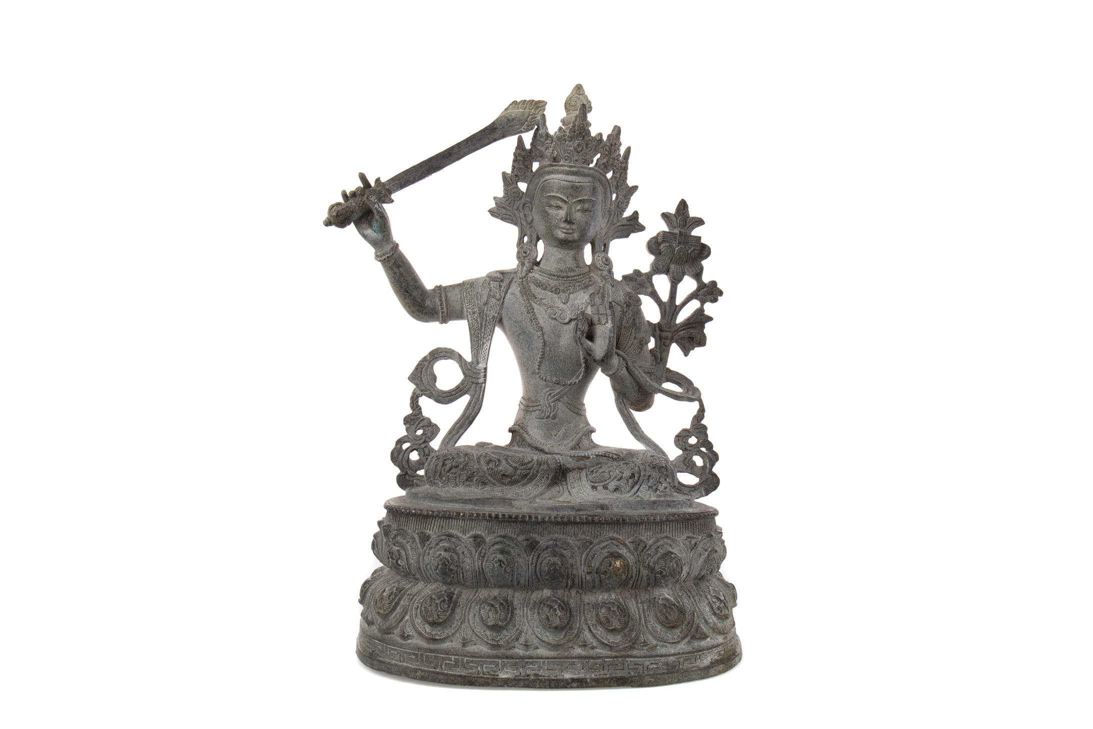 A CHINESE/THAI BRONZED METAL DEITY