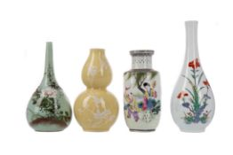A CHINESE REPUBLIC BALUSTER VASE AND THREE OTHERS VASES