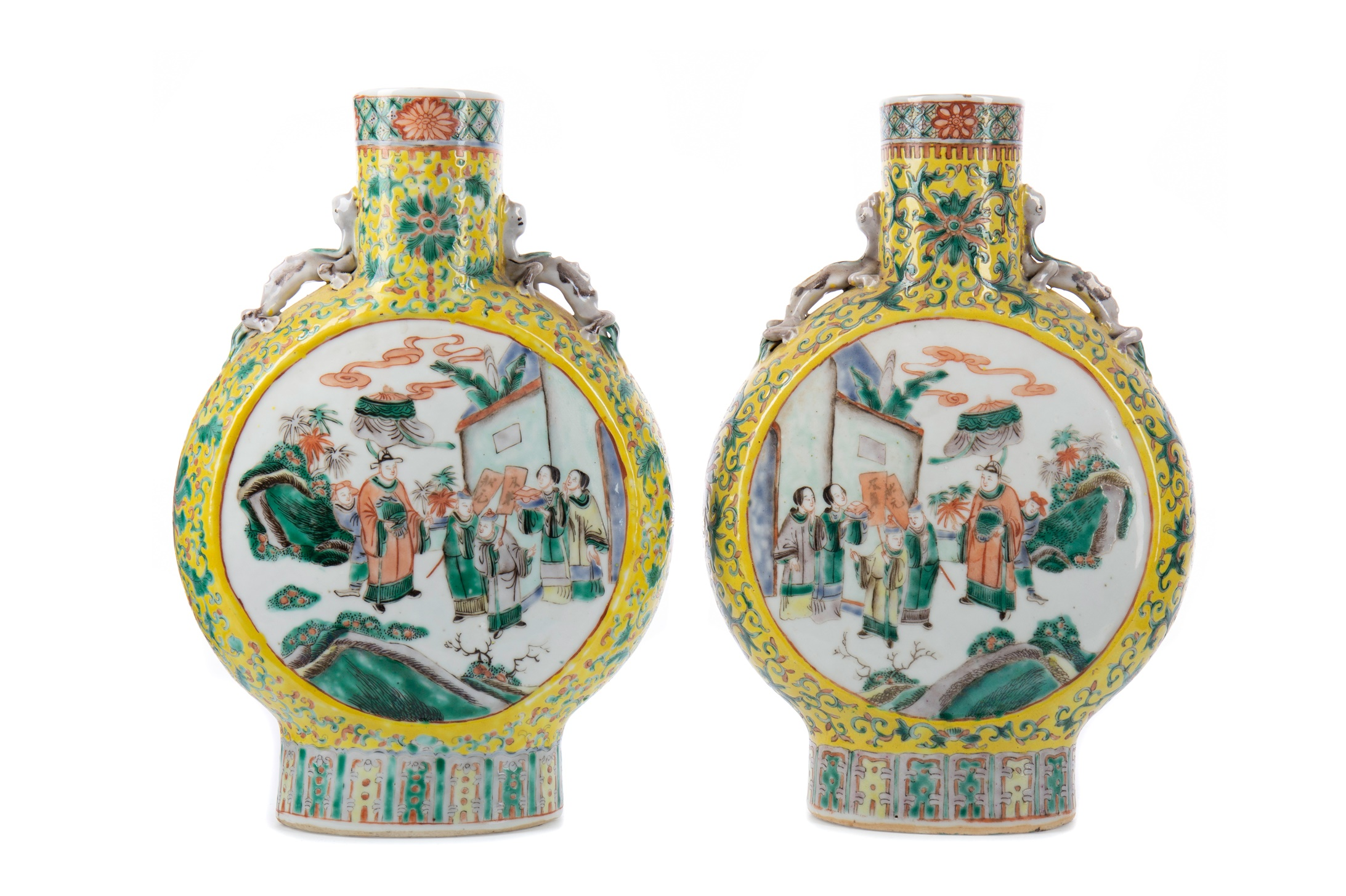 A PAIR OF 19TH CETURY CHINESE FAMILLE JAUNE MOON FLASK VASES