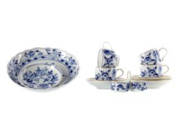 A SET OF THREE MEISSEN CUPS AND SAUCERS ALONG WITH ANOTHER, A DISH AND A CRUET