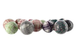 A GROUP OF VICTORIAN SCOTTISH POTTERY CARPET BOWLS