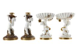 A PAIR OF 19TH CENTURY MOORE & CO. WHITE GLAZED COMPORTS