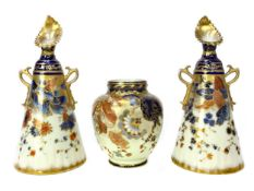 A PAIR OF NAUTILUS PORCELAIN CONICAL VASES ALONG WITH A CROWN DERBY VASE