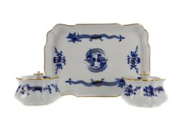 A MEISSEN RECTANGULAR TRAY AND A PAIR OF INKWELLS
