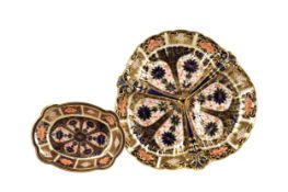A ROYAL CROWN DERBY TREFOIL DISH AND A PIN DISH
