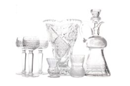 AN EARLY 20TH CENTURY CUT GLASS CLARET JUG AND STOPPER, ALONG WITH FIVE HOCK GLASSES, TWO TUMBLERS A