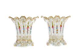 A PAIR OF LATE 19TH CENTURY CONTINENTAL PORCELAIN SPILL VASES