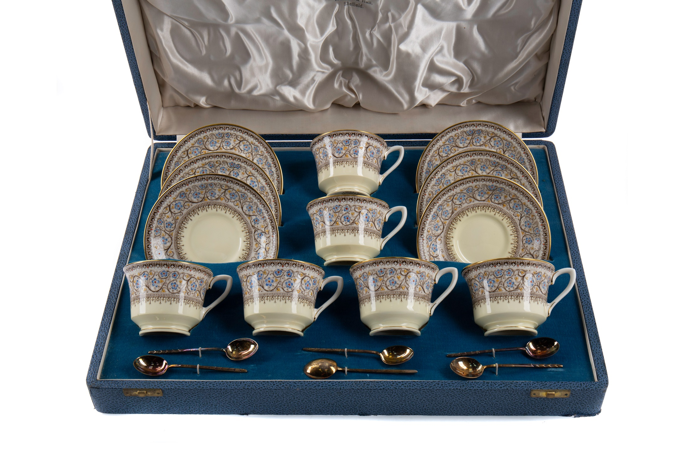 A CASED ROYAL WORCESTER 'LADY EVELYN' PATTERN COFFEE SET