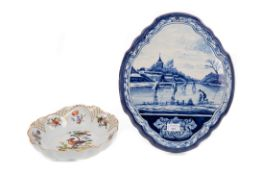 A DUTCH BLUE & WHITE OVAL SHAPED WALL PLAQUE AND A MEISSEN STYLE DISH