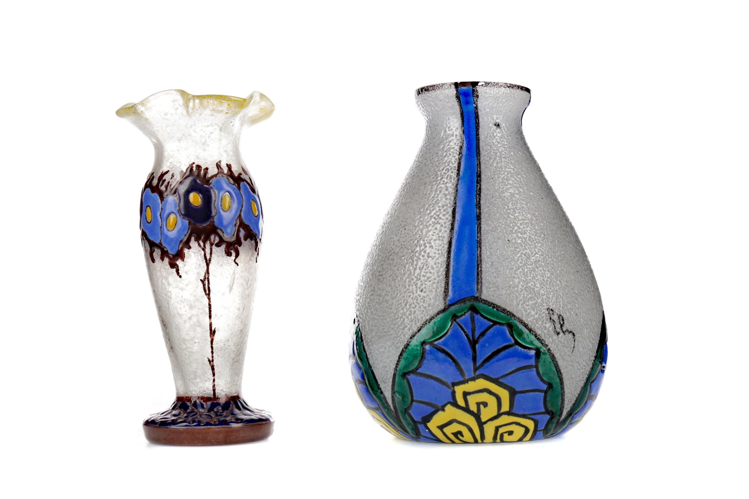 TWO EARLY 20TH CENTURY FRENCH FROSTED AND ENAMELLED GLASS VASES