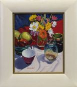 FRUIT, FLOWERS AND A SANDERS & WALLACE VASE, AN OIL BY FRANK COLCLOUGH