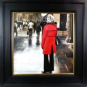 RED COAT IN THE CITY (GLASGOW), AN OIL BY GERARD BURNS