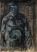 AN UNTITLED AND UNFRAMED PASTEL BY PETER HOWSON