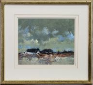 CLOUDY DAY, STIRLINGSHIRE, AN OIL BY GORDON WYLLIE