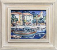 BOATS AT A CONTINENTAL HARBOUR, AN OIL BY CAROLINE LEBURN