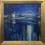 THE CLYDE AT THE ARC, AN OIL BY HELEN MCDONALD MATHIE