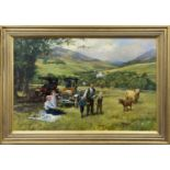 THE HOME OF MR. & MRS. ROBIN BROCK, WITH GRANDCHILDREN AND MODEL T'S, AN OIL BY ALAN FEARNLEY