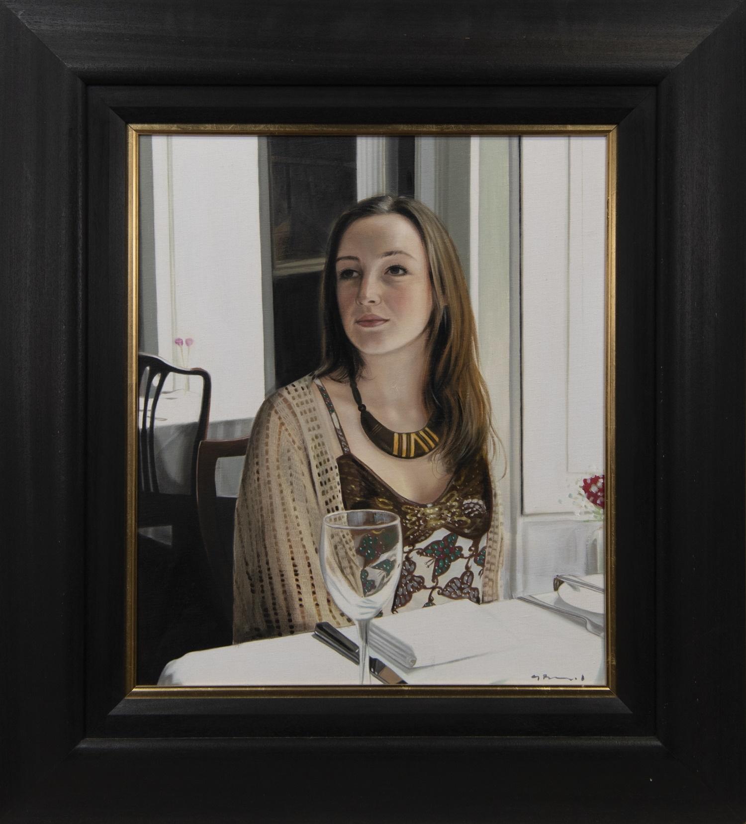 GIRL AT THE GLASGOW ART CLUB, AN OIL BY GERARD BURNS