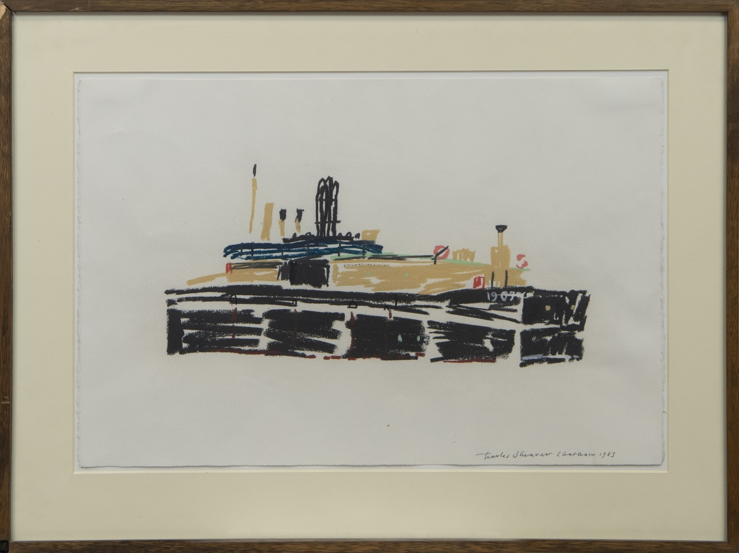 AUXILIARY CRAFT, CHATHAM, A PASTEL BY CHARLES SHEARER