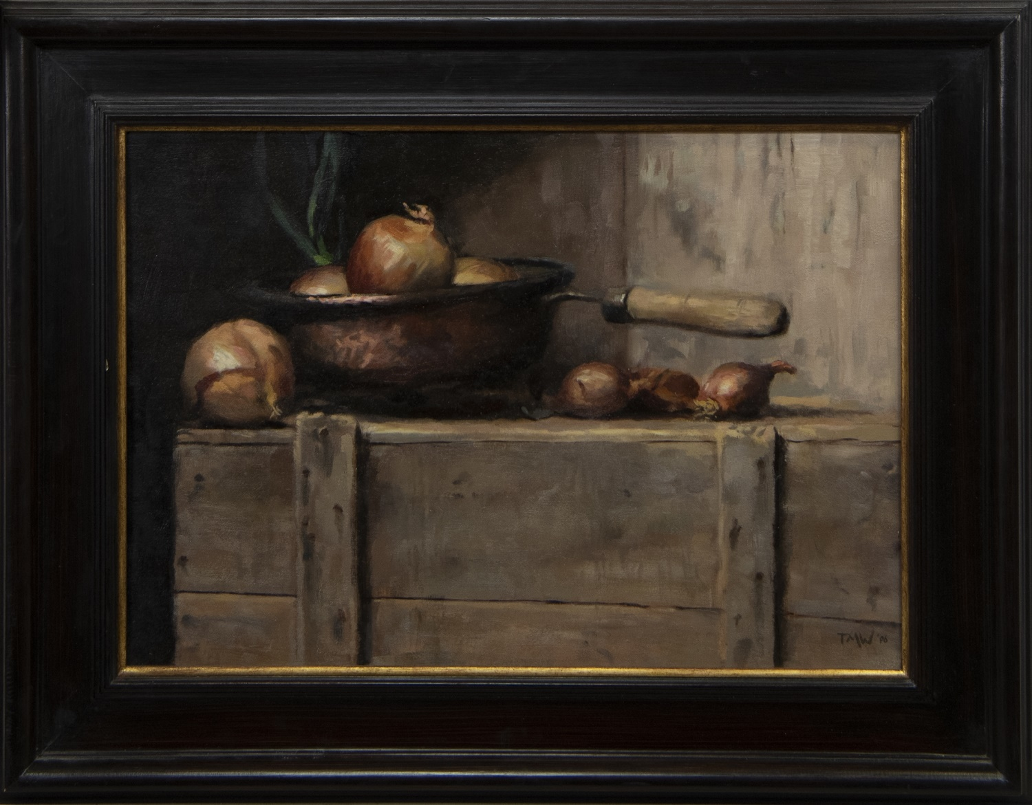 STILL LIFE WITH ONIONS, AN OIL BY TMW