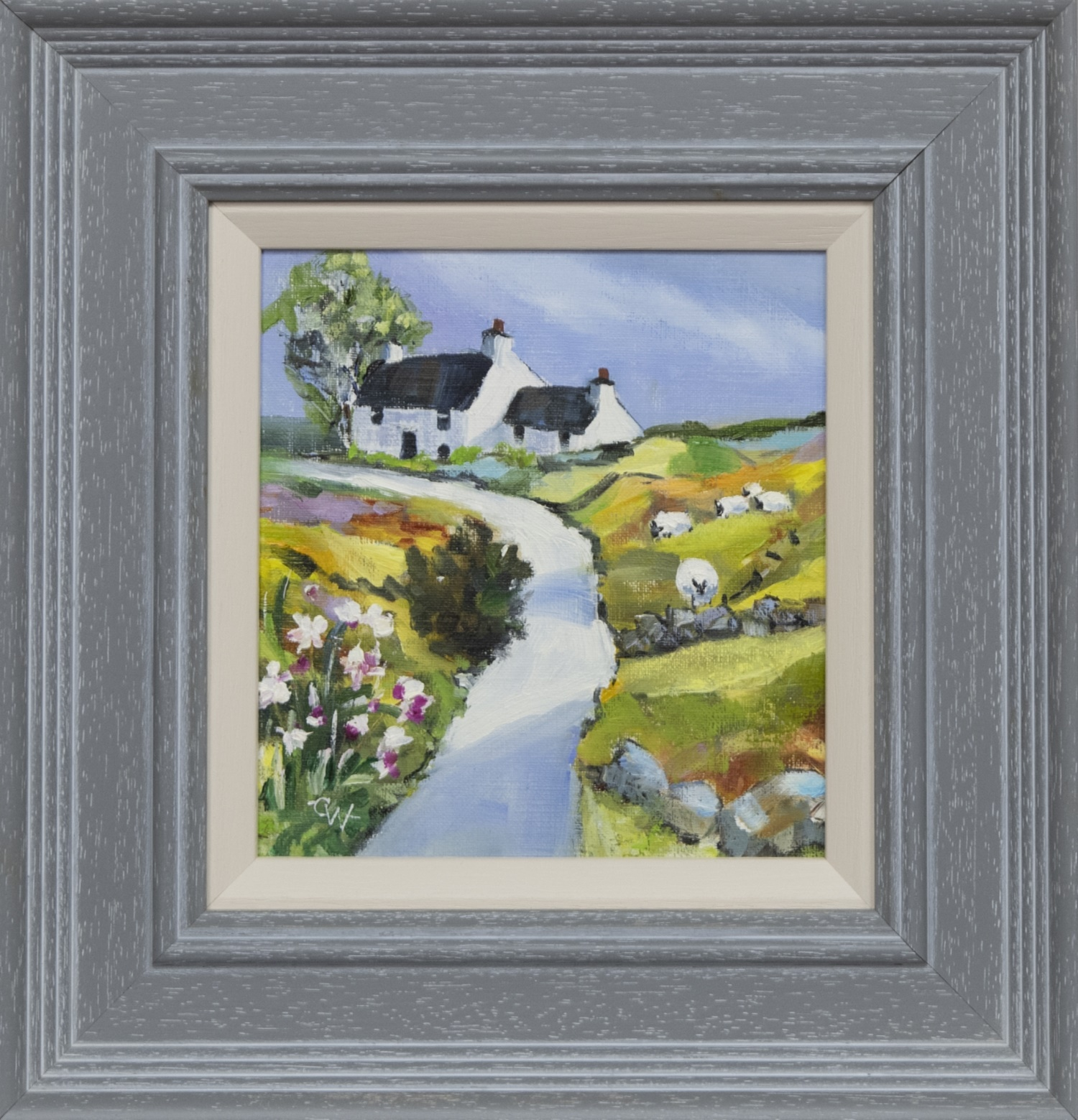 SHEEP COTTAGE, AN OIL BY CAROL WEST