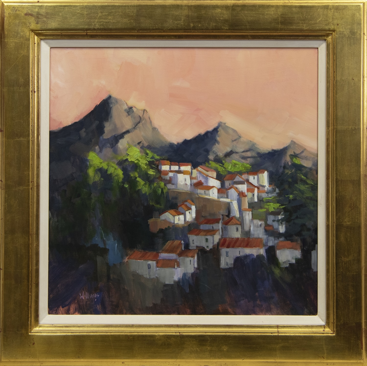 LAST LIGHT, ANDALUSIAN VILLAGE, AN ACRYLIC BY DOREEN WILLIAMS