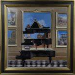 PIA PIA PIANO, A LARGE OIL BY JOE HARGAN