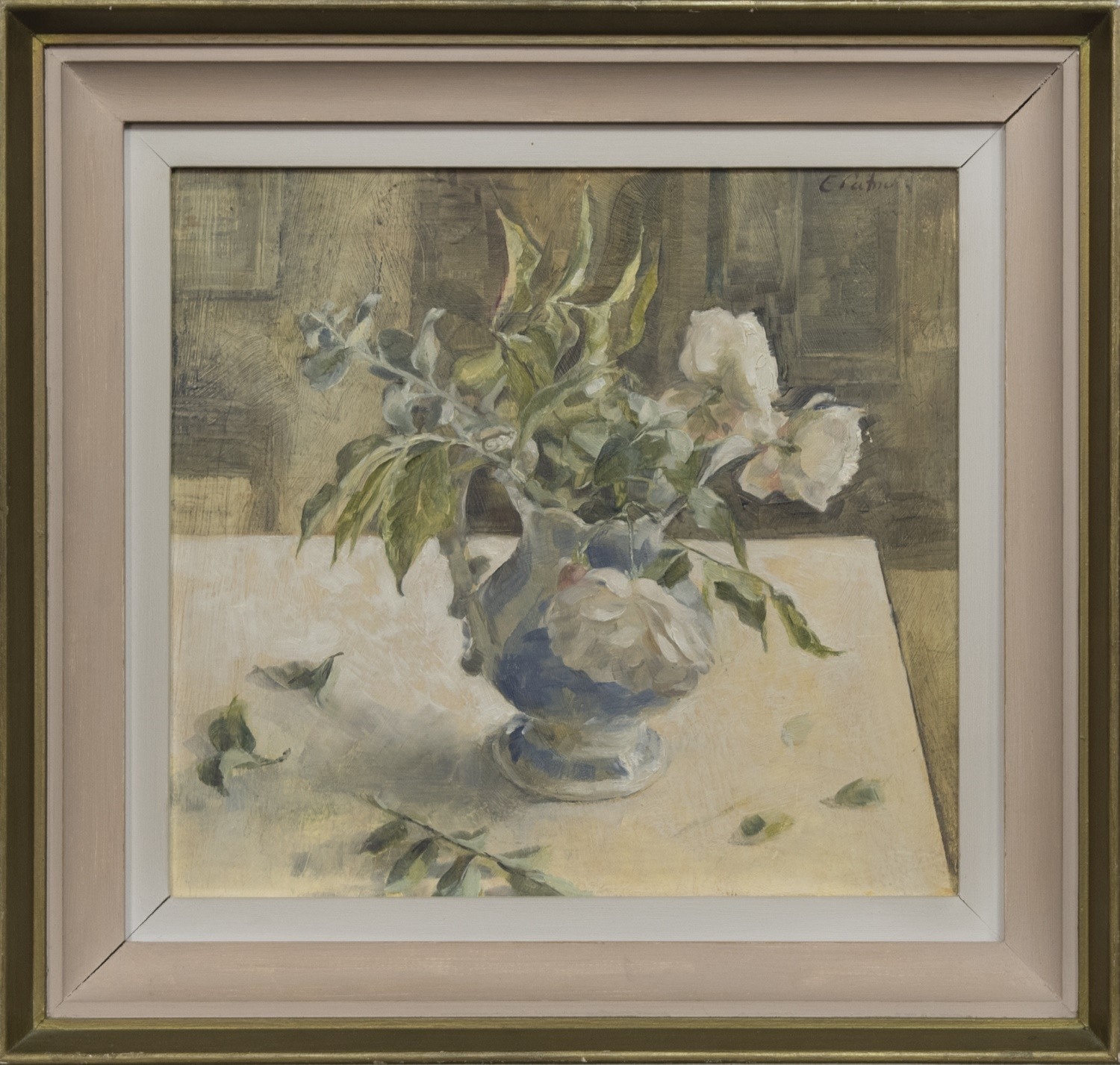 THREE WHITE ROSES IN A BLUE JUG, AN OIL BY EMILY PATRICK