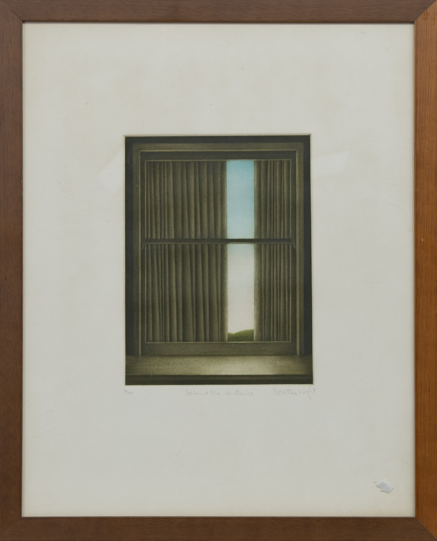 BEHIND THE CURTAINS, A MEZZOTINT BY DOROTHEA WIGHT