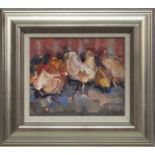 HENS IN THE YARD, AN OIL BY JAMES FULLARTON