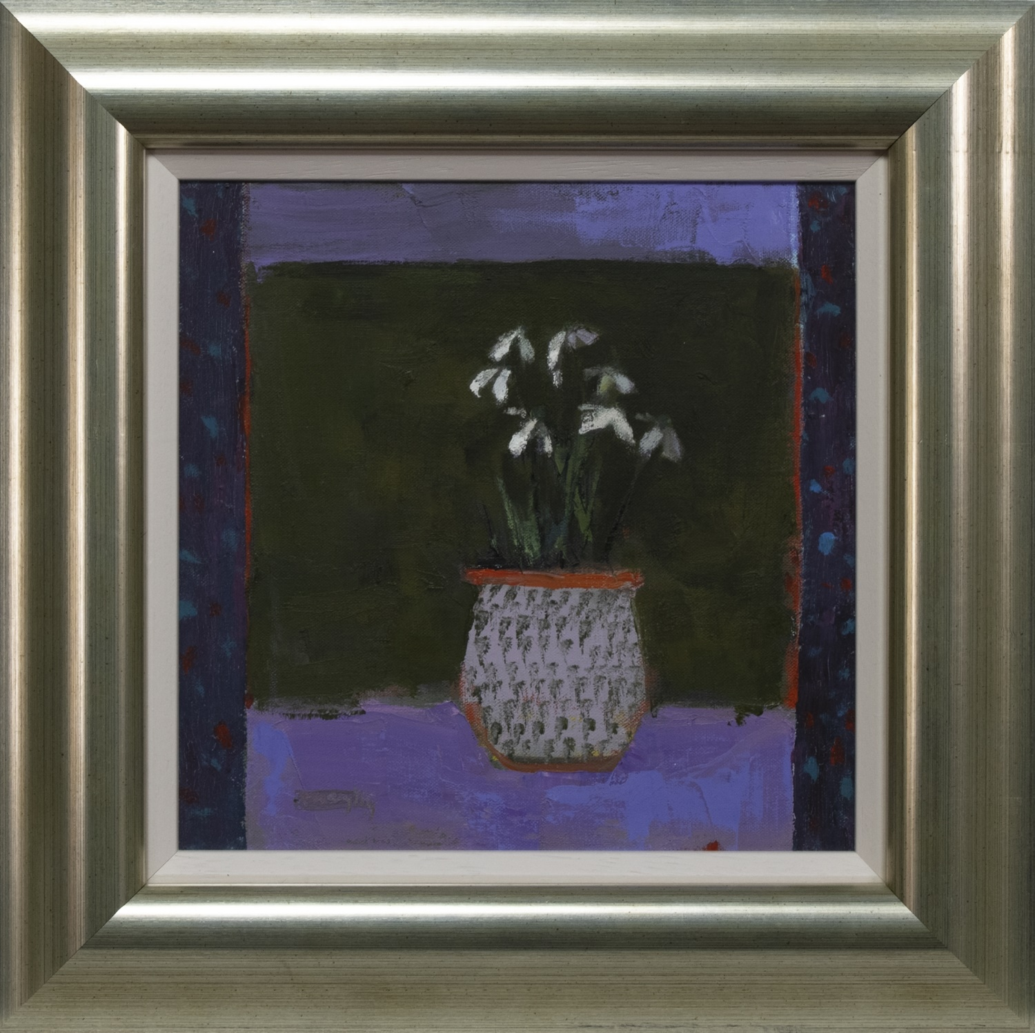 POT OF SNOWDROPS, AN OIL BY AMARYLLIS JOHNSTON