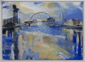 FINNIESTON REFLECTIONS, AN OIL BY HELEN MCDONALD MATHIE