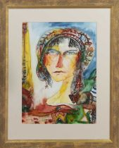 WOMAN WITH CAT, A WATERCOLOUR BY JOHN BELLANY