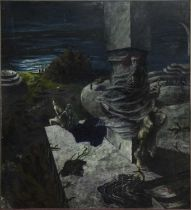 GHOSTLY FIGURES IN A MYTHICAL SCENE, A LARGE OIL BY BILL GILLON