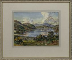LOCH VIEW WITH A FENCE, A WATERCOLOUR BY STIRLING GILLESPIE