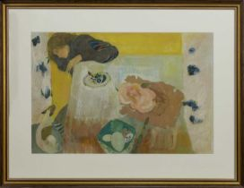 GIRL AND DOG AT A TABLE, A GOUACHE BY BRENDA LENAGHAN
