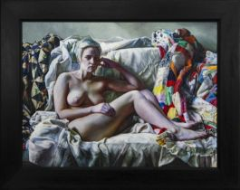SOPHIE ON PATCHWORK, AN OIL BY FELIX DALY