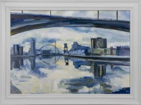 THE CLYDE FROM UNDER THE KINGSTON BRIDGE, AN OIL BY HELEN MCDONALD MATHIE