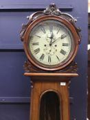 A VICTORIAN SCOTTISH WALNUT DRUMHEAD LONCASE CLOCK