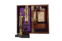 A LATE 19TH CENTURY BRASS MONOCULAR MICROSCOPE BY JAMES BROWN