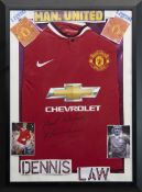 A MANCHESTER UNITED F.C. JERSEY SIGNED BY DENNIS LAW