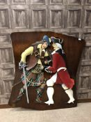 A WOODEN PLAQUE DEPICTING ROB ROY FIGHTING A HANOVERIAN SOLDIER