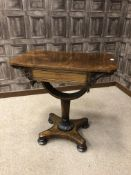 A WILLIAM IV ROSEWOOD NEEDLEWORK TABLE