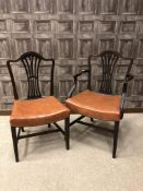 A SET OF EIGHT HEPPLEWHITE STYLE MAHONGANY DINING CHAIRS
