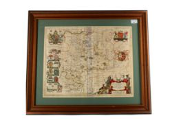 AN 18TH CENTURY MAP OF HUNTINGTONSHIRE