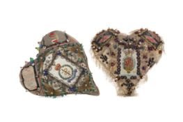 A LOT OF TWO WWI PERIOD SWEETHEART PIN CUSHIONS