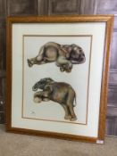 BABY ELEPHANTS, A LIMITED EDITION PRINT BY JOY ADAMSON