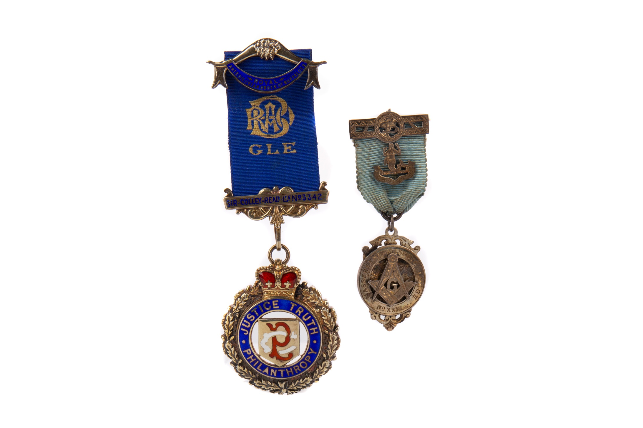 A MASONIC INTEREST SILVER AND ENAMEL JEWEL ALONG WITH ANOTHER